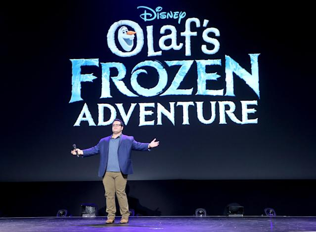 Josh Gad of OLAF'S FROZEN ADVENTURE at Disney's D23 Expo 2017 in Anaheim, Caif. (Getty)
