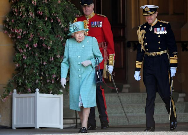 The Queen arriving at her scaled down birthday celebrations. (Getty Images)