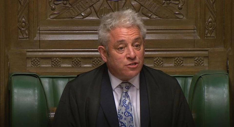 Speaker John Bercow giving the results in the House of Commons of the indicative votes on alternatives to Theresa May's EU withdrawal deal on Monday (Picture: PA)