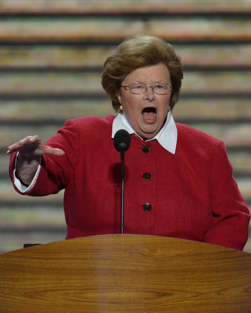 """<a href=""""http://www.senate.gov/artandhistory/history/common/briefing/women_senators.htm""""><strong>Served from:</strong></a> 1987-present Sen. Barbara Mikulski (D-Md.) speaks on day two of the Democratic National Convention on Sept. 5, 2012 in Charlotte, N.C. (STAN HONDA/AFP/GettyImages)"""