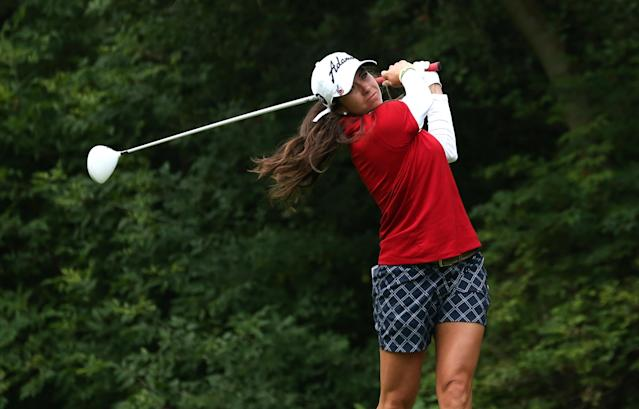 EDMONTON, AB - AUGUST 25: Gerina Piller hits her tee shot on the fifth hole during the final round of the CN Canadian Women's Open at Royal Mayfair Golf Club on August 25, 2013 in Edmonton, Alberta, Canada. (Photo by Stephen Dunn/Getty Images)