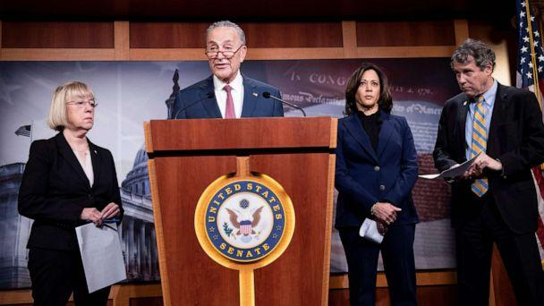 PHOTO:(L-R) Sen. Patty Murray, Sen. Kamala Harris, and Sen. Sherrod Brown listen while Sen. Charles E. Schumer holds a press conference during the impeachment trial of President Donald Trump on Capitol Hill, Jan. 31, 2020, in Washington. (Brendan Smialowski/AFP via Getty Images)