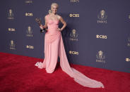 """Hannah Waddingha, winner, of the award for outstanding supporting actress in a comedy series for """"Ted Lasso"""" poses for a photo at the 73rd Primetime Emmy Awards on Sunday, Sept. 19, 2021, at L.A. Live in Los Angeles. (AP Photo/Chris Pizzello)"""