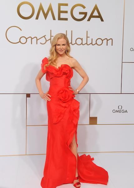 <p>Actress Nicole Kidman opted for a one-shoulder ruffled gown (with a serious thigh-split) for an Omega event in China. <em>[Photo: Getty]</em> </p>