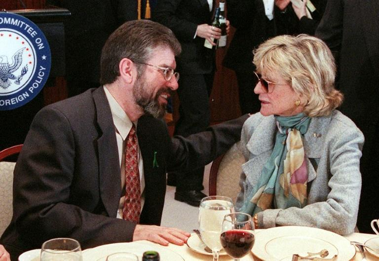 (FILES) In this file photo taken on October 21, 1999, Northern Ireland Sinn Fein Party President Gerry Adams (L) talks with former US Ambassador to Ireland Jean Kennedy Smith (R) prior to the start of a luncheon by the National Committee on American Foreign Policy in New York (AFP Photo/MATT CAMPBELL)