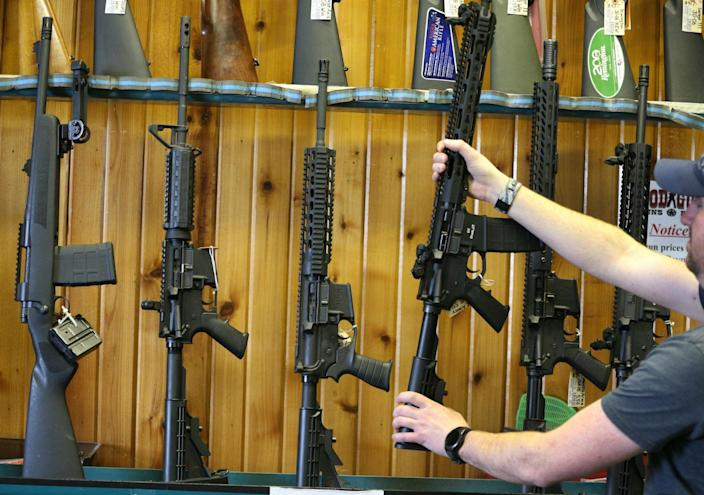 Semi-automatic AR-15's are for sale at Good Guys Guns & Range in Orem, Utah. An AR-15 was used in the Marjory Stoneman Douglas High School shooting in Parkland, Florida: Getty