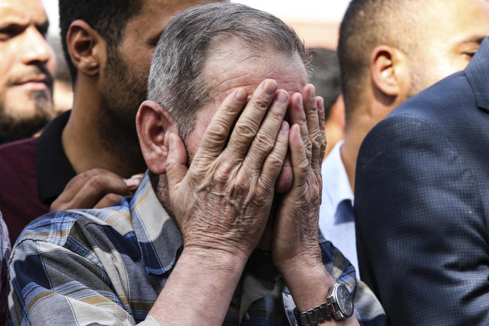 A mourner cries during the funeral of ten-month-old Mohammed Omar Saar, killed during incoming shelling from Syria Thursday, in Akcakale, Sanliurfa province, southeastern Turkey, at the border with Syria, Oct. 11, 2019. (Photo: Emrah Gurel/AP)