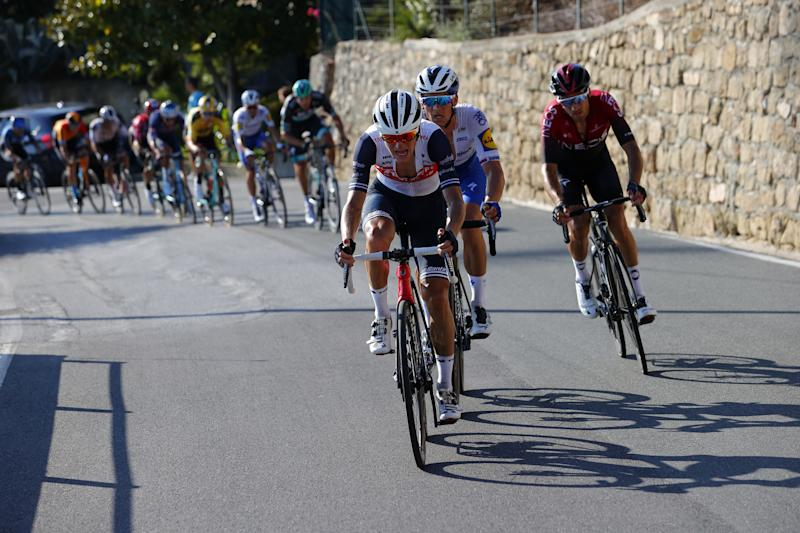 Ciccone, Stybar, and Moscon attacked on the lower slopes of the Poggio
