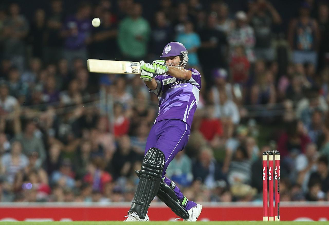 HOBART, AUSTRALIA - JANUARY 05:  Ricky Ponting of the Hurricanes bats during the Big Bash League match between the Hobart Hurricanes and the Adelaide Strikers at Blundstone Arena on January 5, 2013 in Hobart, Australia.  (Photo by Mark Metcalfe/Getty Images)