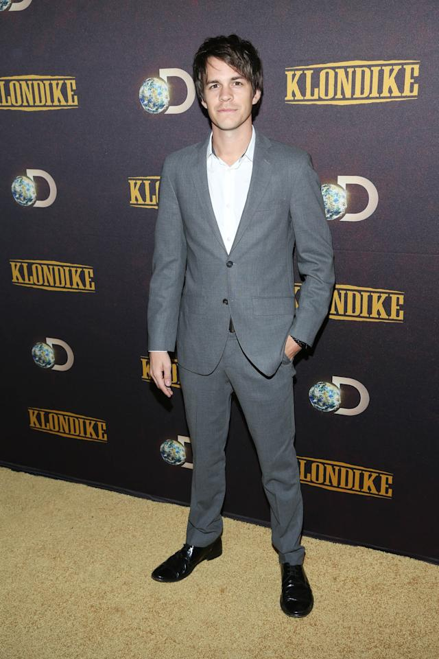 "NEW YORK, NY - JANUARY 16: Johnny Simmons attends the ""Klondike"" series premiere at Best Buy Theater on January 16, 2014 in New York City. (Photo by Rob Kim/Getty Images)"