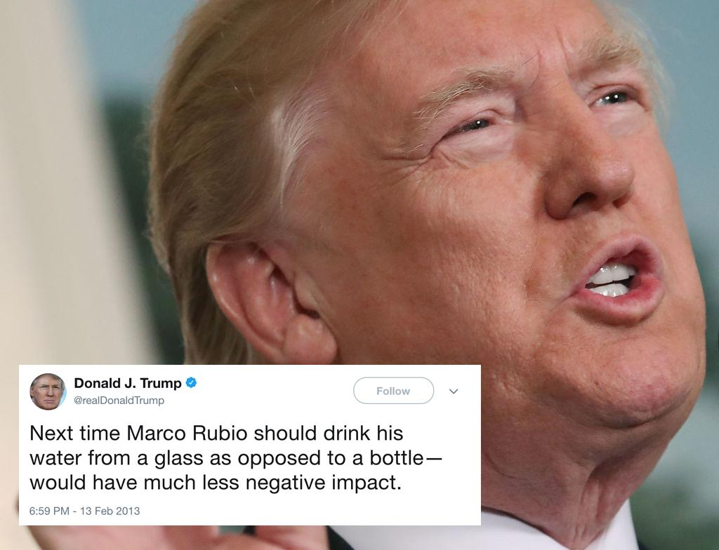 "<p>In 2013, Trump criticised Republican politician Marco Rubio (his one-time GOP rival) for drinking from a bottle during a speech. 'When they put Marco on to refute President Obama's speech, do you remember that catastrophe?' Trump then asked a campaign crowd in Fort Worth, Texas, in February 2016. He mocked Rubio, saying, 'He's like this: '"" need water. Help me, I need water,""' Trump said, pretending to stagger on stage.<br /> Recently, during his Asia tour, Trump stopped twice to take a drink from a bottle during his speech. (Getty) </p>"