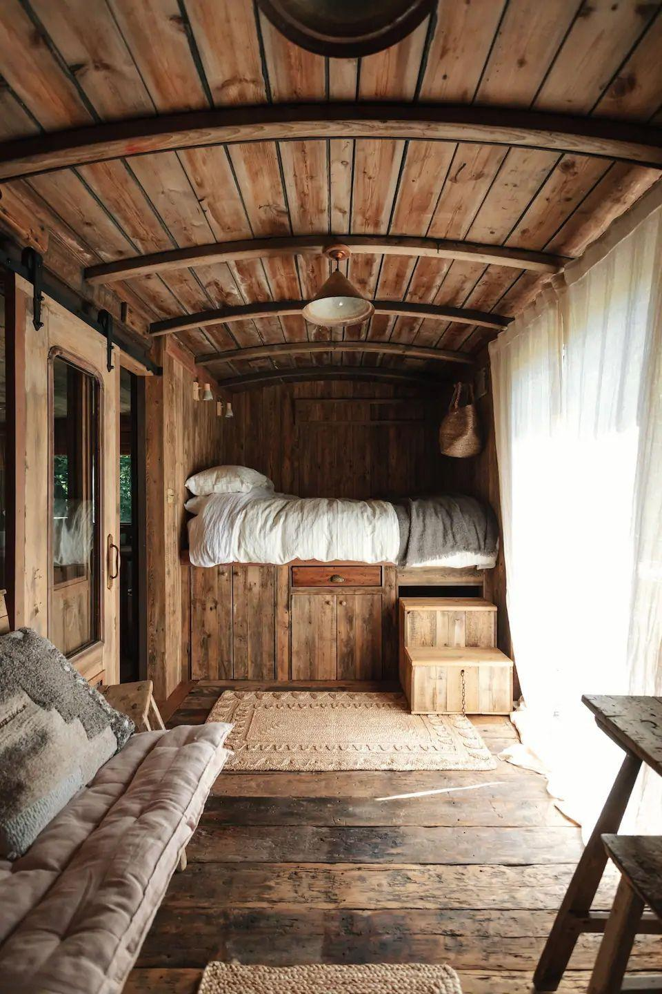 "<p>Glamping has never looked so good. If you're after a remote escape that allows you to feel at one with nature and experience camping with a luxe twist, you'll want to know about this wonderfully restored train carriage in Shropham. The Airbnb has all the features you'd never expect from the typical camping trip: soft linen sheets from Piglet, a stylish shower, rustic reclaimed furniture and a delightful outdoor area to relax.</p><p><strong>Sleeps:</strong> 2</p><p><strong>Make sure you... </strong>Take it all in. It's the glamping experience to end all glamping experiences!</p><p><strong>Price per night:</strong> £220</p><p><a class=""link rapid-noclick-resp"" href=""https://airbnb.pvxt.net/QOyedY"" rel=""nofollow noopener"" target=""_blank"" data-ylk=""slk:BOOK HERE"">BOOK HERE</a></p>"