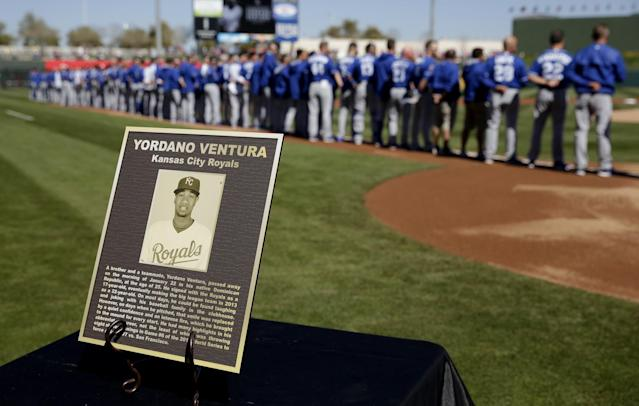 How the Royals remembered Yordano Ventura at the start of spring training. (AP)