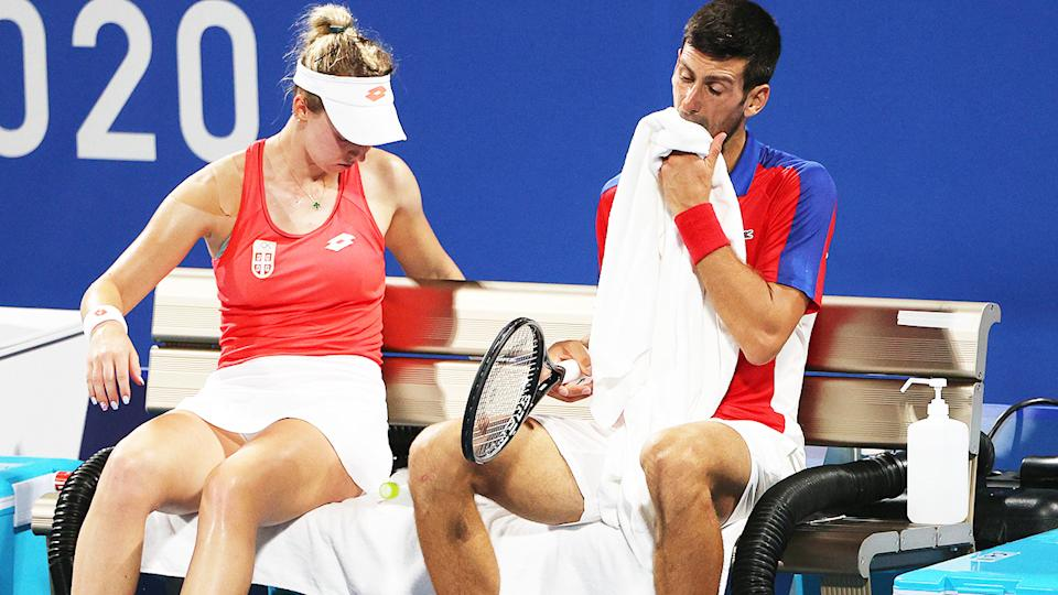 Novak Djokovic and Nina Stojanovic, pictured here during their loss in the mixed doubles semi-final.