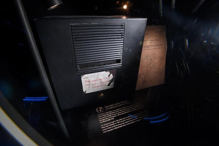 CERN has held onto only a few souvenirs from the early days: the first memo that Tim Berners-Lee drafted about his invention, his black NeXT computer station and his keyboard (AFP Photo/Fabrice COFFRINI)