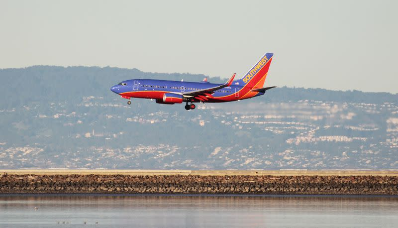 FILE PHOTO: FILE PHOTO: A Southwest Airlines Boeing 737-800 lands at San Francisco International Airport, San Francisco