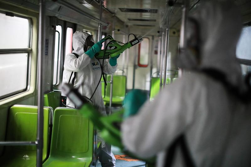 Mexico City's Subway Cleaning Efforts Against Coronavirus Spread