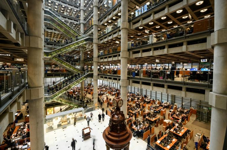 This photo taken on April 27, 2016 shows the interior of Lloyd's of London, the centuries-old insurance market, in central London