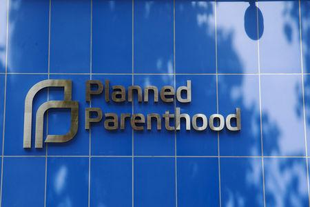 A sign is pictured at the entrance to a Planned Parenthood building in New York