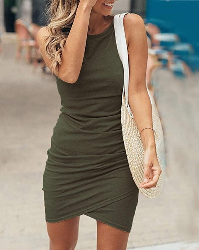 <p>The <span>BTFBM Women Casual Crew Neck Ruched Sleeveless Tank Bodycon Dress</span> ($29) comes in a variety of colors and is a great, flattering staple.</p>