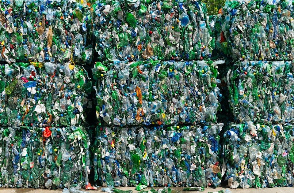 "<span class=""caption"">Bales of plastic waste destined for recycling.</span> <span class=""attribution""><a class=""link rapid-noclick-resp"" href=""https://www.gettyimages.com/detail/photo/recycling-pattern-waste-recovery-royalty-free-image/1153505120?adppopup=true"" rel=""nofollow noopener"" target=""_blank"" data-ylk=""slk:Koron/Getty Images"">Koron/Getty Images</a></span>"
