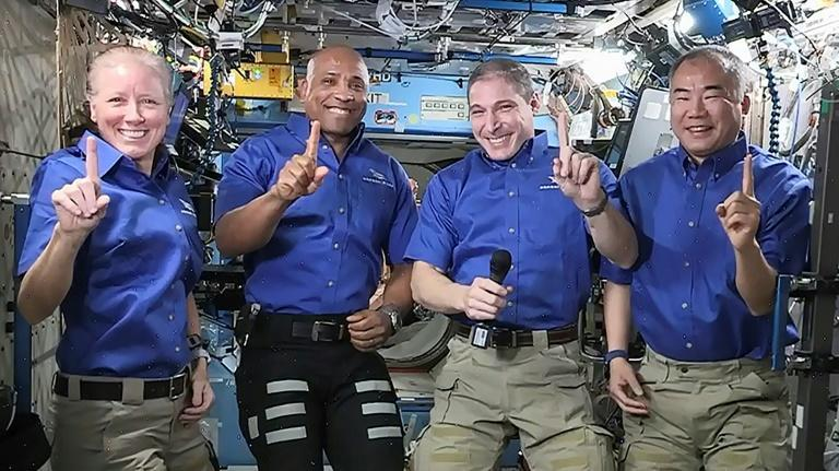 Astronauts (L-R) Shannon Walker, Victor Glover, Michael Hopkins and Soichi Noguchi went to space last November as the crew on the first fully operational mission to the ISS aboard a vehicle made by SpaceX
