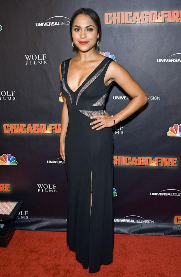 "Monica Raymund attends NBC's ""Chicago Fire"" premiere at the Chicago History Museum on October 2, 2012 in Chicago, Illinois."
