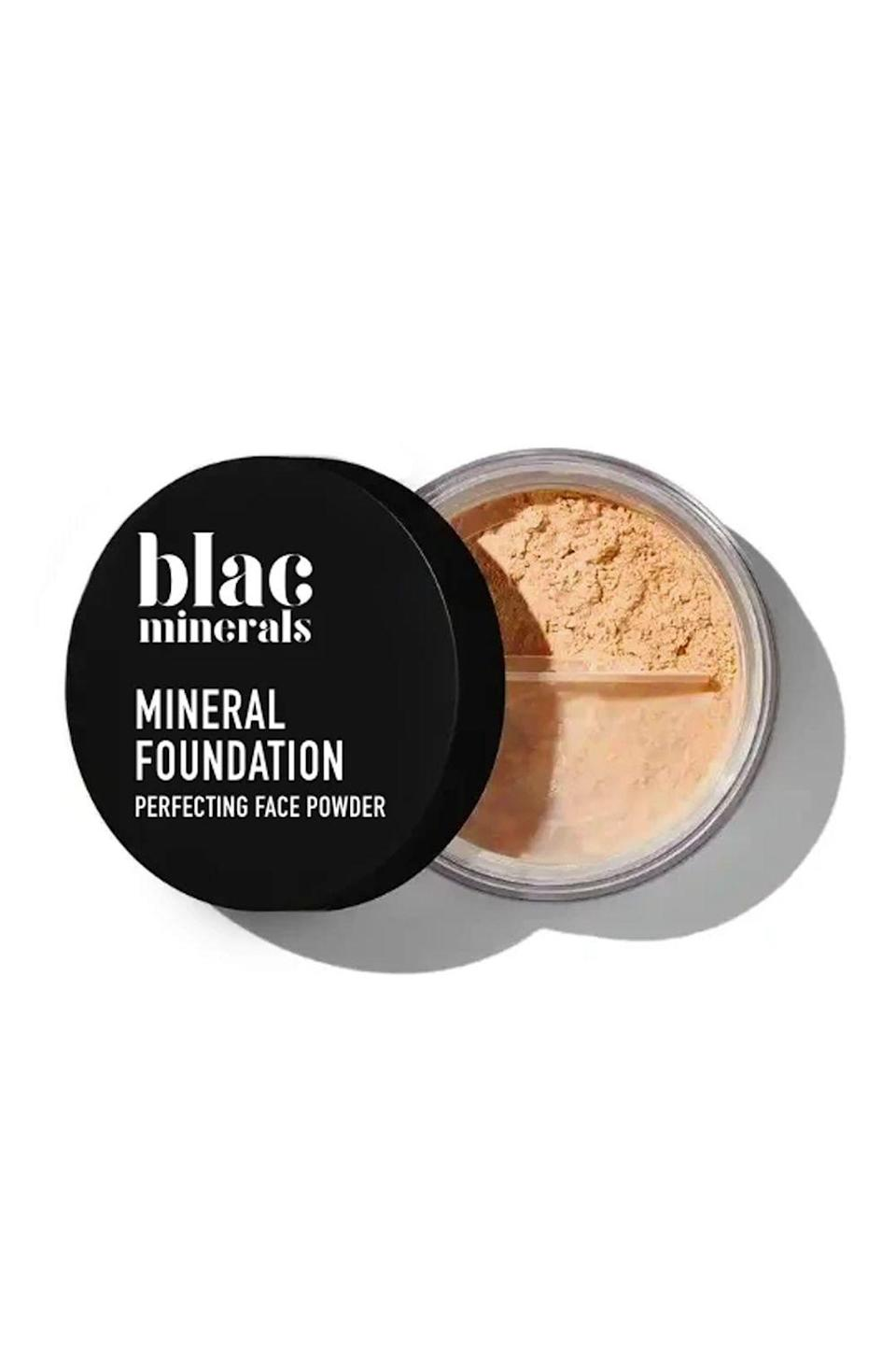 "<p><strong>foundation</strong></p><p>blacminerals.com</p><p><strong>$26.00</strong></p><p><a href=""https://www.blacminerals.com/collections/foundation/products/copy-of-mineral-foundation?variant=28457826320473"" rel=""nofollow noopener"" target=""_blank"" data-ylk=""slk:Shop Now"" class=""link rapid-noclick-resp"">Shop Now</a></p><p>Non-toxic and totally clean, this all-natural loose powder foundation is<strong> made with skin-friendly <a href=""https://www.cosmopolitan.com/style-beauty/beauty/g26836213/mineral-foundation-makeup/"" rel=""nofollow noopener"" target=""_blank"" data-ylk=""slk:minerals"" class=""link rapid-noclick-resp"">minerals</a> to cover up redness, acne, spots</strong>, and more without causing irritation or clogging your pores. And unlike like some loose powder foundations, this one won't make your skin look ashy or chalky.</p>"