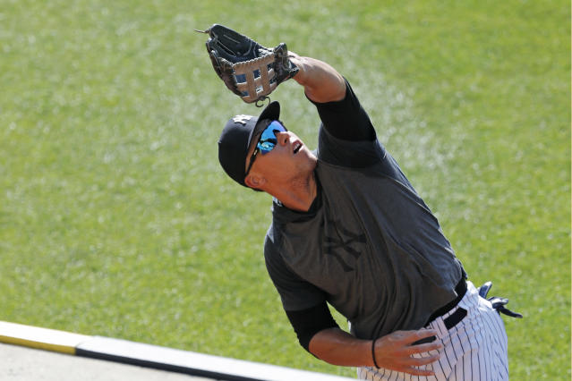 Aaron Judge says he's healed and ready to go when the Yankees start their season on July 23. (AP Photo/Kathy Willens)