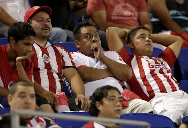 Spectators watch the final minutes of an international friendly soccer match at Red Bull Arena, Thursday, July 31, 2014, in Harrison, N.J. Bayern Munich won 1-0. (AP Photo/Julio Cortez)
