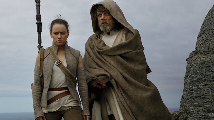 Rey receives Jedi training in The Last Jedi.
