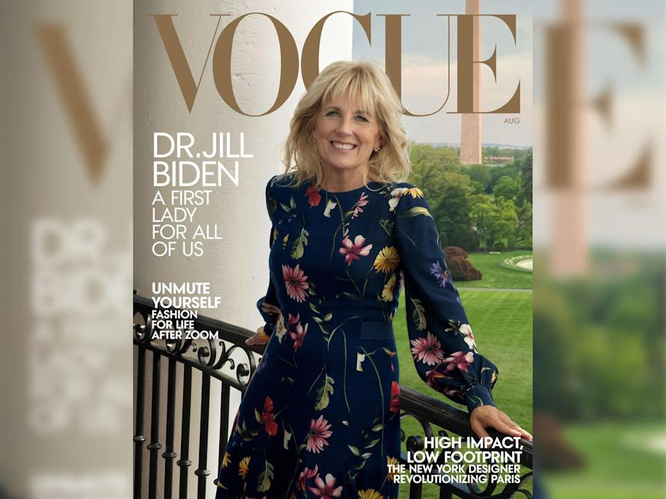 First Lady Jill Biden graced the cover of Vogue wearing a navy Oscar de la Renta dress after Melania Trump was not invited to do so during her husband's presidency (Vogue)
