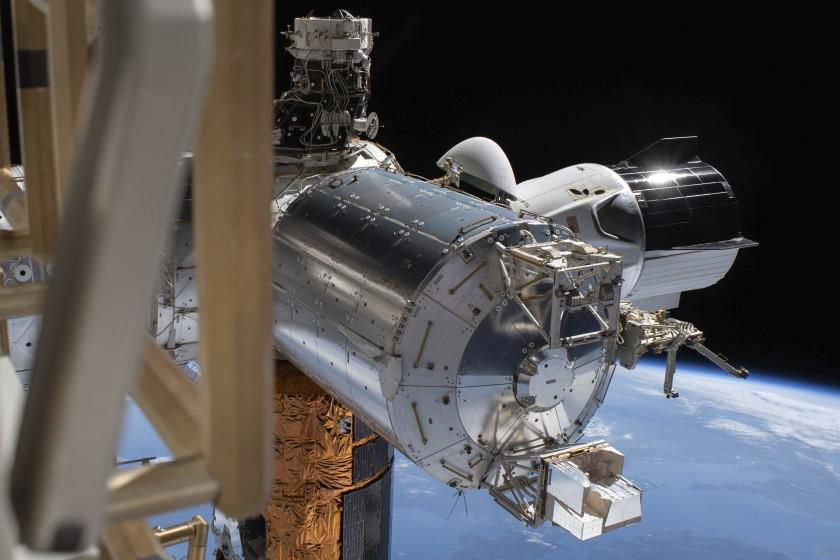 "SpaceX's Crew Dragon capsule, right, is docked to the International Space Station on July 1. <span class=""copyright"">(NASA)</span>"