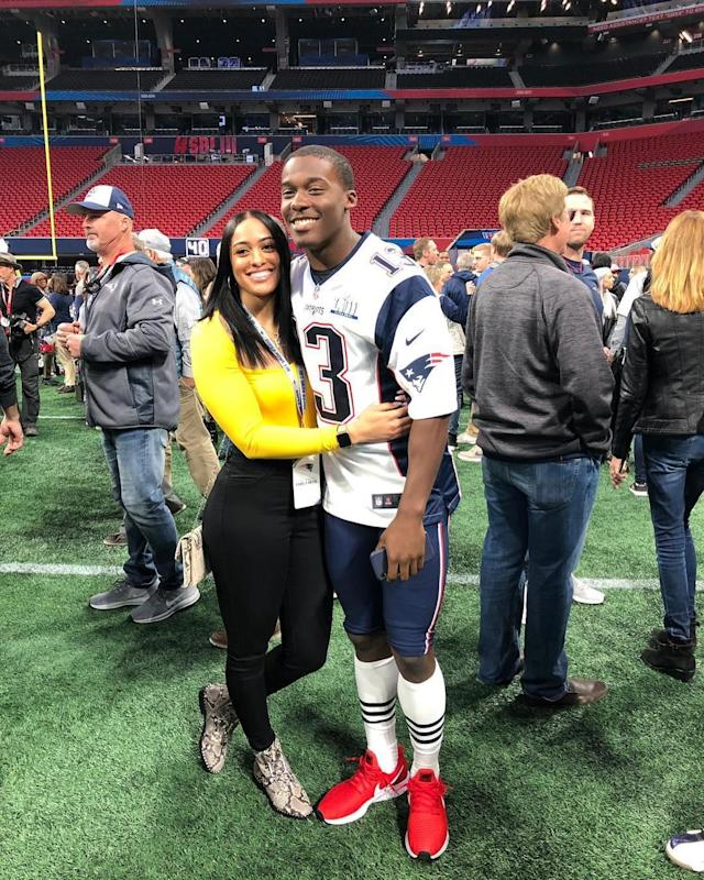 <p>Phillip Dorsett and his girlfriend Moriah Beaty pose for a photo on the field. (Instagram/mobeatz20) </p>