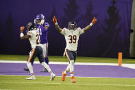 Chicago Bears safety Eddie Jackson (39) celebrates at the end of an NFL football game against the Minnesota Vikings, Sunday, Dec. 20, 2020, in Minneapolis. The Bears won 33-27. (AP Photo/Jim Mone)