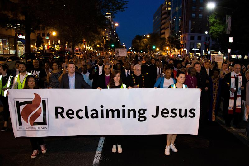 "People participate in a march to ""reclaim Jesus"" in Washington, D.C."