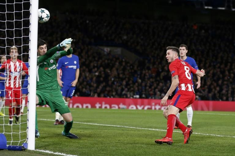 Chelsea's downfall against Atletico was poor marking by Tiemoue Bakayoko, who allowed Saul Niguez (R) to head home in the second half before the hosts equalised
