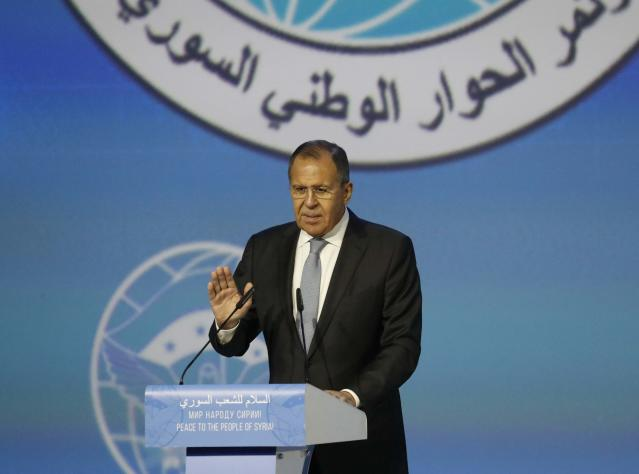 Russian Foreign Minister Sergei Lavrov gestures as attends a session of the Syrian Congress of National Dialogue in the Black Sea resort of Sochi, Russia January 30, 2018. REUTERS/Sergei Karpukhin