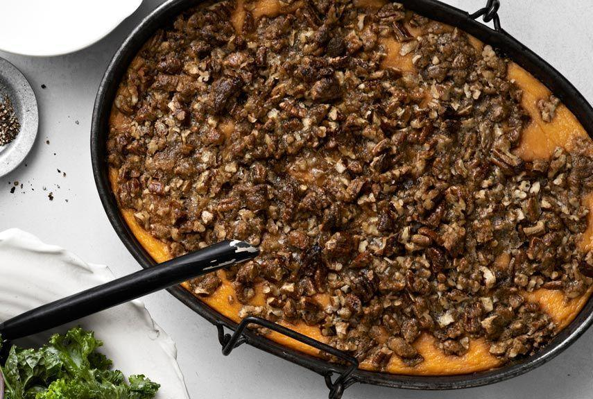 "<p>Just about everyone has a favorite sweet potato recipe for Thanksgiving dinner. Ours can be made ahead and then reheated before serving.</p><p><strong><a href=""https://www.countryliving.com/food-drinks/recipes/a913/roasted-sweet-potato-casserole-praline-streusel-3014/"" rel=""nofollow noopener"" target=""_blank"" data-ylk=""slk:Get the recipe"" class=""link rapid-noclick-resp"">Get the recipe</a>.</strong></p>"