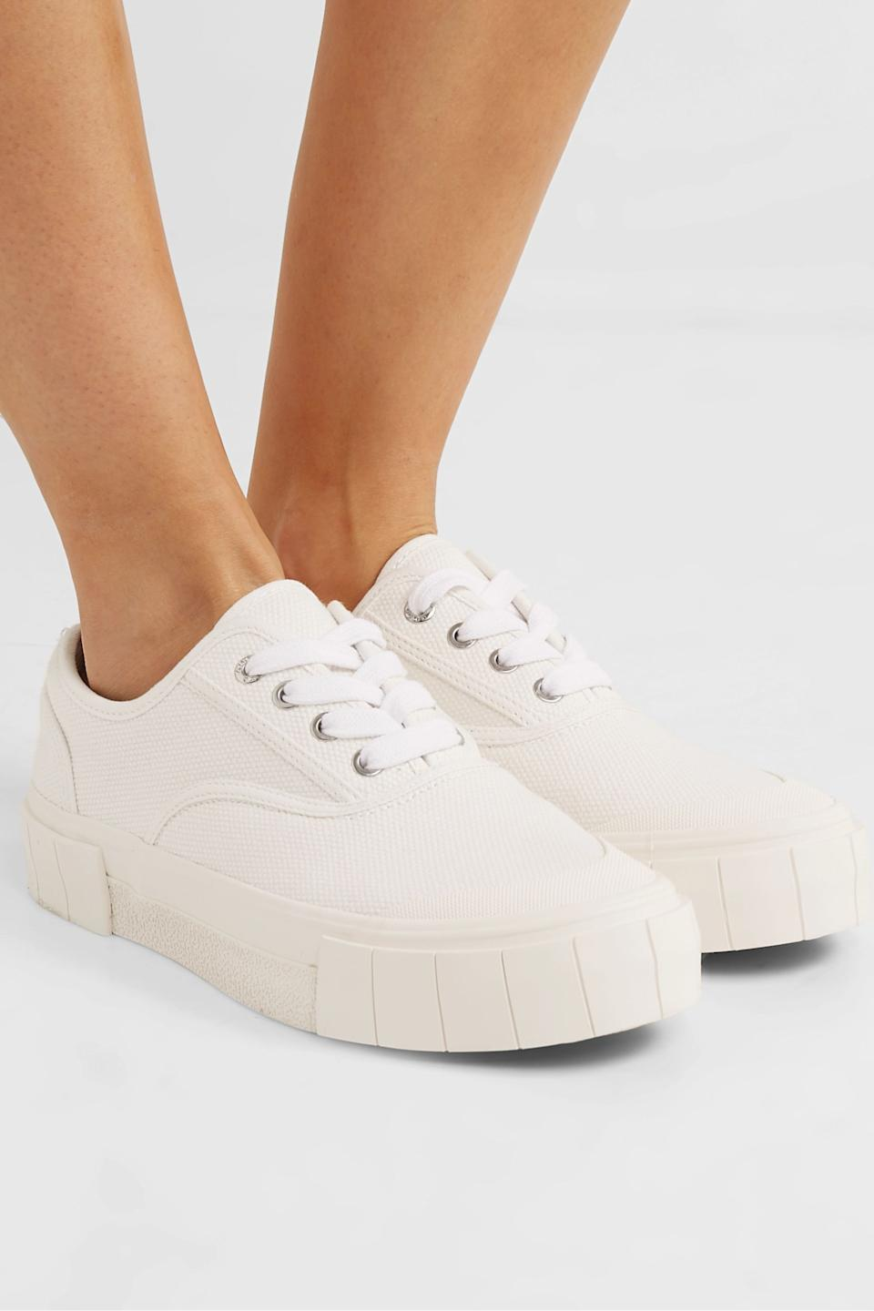 "<br><br><strong>Good News</strong> Organic cotton-canvas sneakers, $, available at <a href=""https://go.skimresources.com/?id=30283X879131&url=https%3A%2F%2Fwww.net-a-porter.com%2Fen-us%2Fshop%2Fproduct%2Fgood-news%2Fnet-sustain-organic-cotton-canvas-sneakers%2F1212948"" rel=""nofollow noopener"" target=""_blank"" data-ylk=""slk:Net-A-Porter"" class=""link rapid-noclick-resp"">Net-A-Porter</a>"