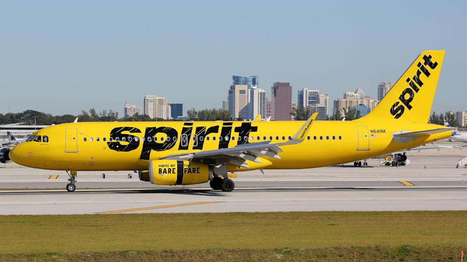 Fort Lauderdale, United States - February 17, 2016: A Spirit Airlines Airbus A320 with the registration N641NK landing at Fort Lauderdale Airport (FLL) in the United States.