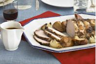 """<p>A classic menu that's the perfect accompaniment to a snowy, New England country Christmas.</p><p><strong>Main Course:</strong><br><a href=""""https://www.countryliving.com/food-drinks/recipes/a3455/cider-brined-pork-roast-onions-apples-recipe-clv0910/"""" rel=""""nofollow noopener"""" target=""""_blank"""" data-ylk=""""slk:Cider-Brined Pork Roast with Onions and Apples"""" class=""""link rapid-noclick-resp"""">Cider-Brined Pork Roast with Onions and Apples</a></p><p><strong>Side Dishes:</strong><br><a href=""""https://www.countryliving.com/food-drinks/recipes/a1111/oven-roasted-mushroom-soup-3217/"""" rel=""""nofollow noopener"""" target=""""_blank"""" data-ylk=""""slk:Oven Roasted Mushroom Stew"""" class=""""link rapid-noclick-resp"""">Oven Roasted Mushroom Stew</a></p><p><a href=""""https://www.countryliving.com/food-drinks/recipes/a1594/sweet-pear-gorgonzola-salad-3710/"""" rel=""""nofollow noopener"""" target=""""_blank"""" data-ylk=""""slk:Sweet Pear and Gorgonzola Salad"""" class=""""link rapid-noclick-resp"""">Sweet Pear and Gorgonzola Salad</a></p><p><a href=""""https://www.countryliving.com/food-drinks/recipes/a1471/pumpkin-cauliflower-casserole-3585/"""" rel=""""nofollow noopener"""" target=""""_blank"""" data-ylk=""""slk:Pumpkin and Cauliflower Casserole"""" class=""""link rapid-noclick-resp"""">Pumpkin and Cauliflower Casserole</a></p><p><strong>Dessert:</strong><br><a href=""""https://www.countryliving.com/food-drinks/recipes/a994/apple-cheddar-crumble-pie-3097/"""" rel=""""nofollow noopener"""" target=""""_blank"""" data-ylk=""""slk:Apple-Cheddar Crumble Pie"""" class=""""link rapid-noclick-resp"""">Apple-Cheddar Crumble Pie</a></p><p><strong>Drink:</strong><br><a href=""""https://www.countryliving.com/food-drinks/recipes/a1319/block-island-fog-3429/"""" rel=""""nofollow noopener"""" target=""""_blank"""" data-ylk=""""slk:Block Island Fog"""" class=""""link rapid-noclick-resp"""">Block Island Fog</a></p>"""