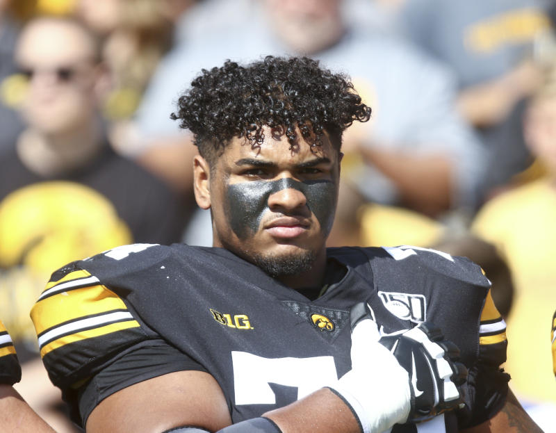 Iowa OT Tristan Wirfs is among the highest-rated prospects in the 2020 NFL draft. (Photo by Matthew Holst/Getty Images)