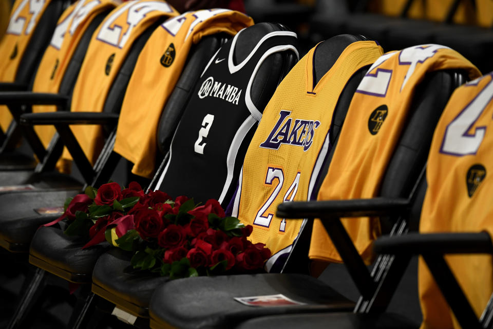 LOS ANGELES, CALIFORNIA - JANUARY 31:  The Los Angeles Lakers honor Kobe Bryant and daughter Gigi by covering the courtside seats they occupied with flowers, Gigi's #2 Mamba jersey and Kobe's #24 jersey before the game against the Portland Trail Blazers at Staples Center on January 31, 2020 in Los Angeles, California. (Photo by Kevork Djansezian/Getty Images)