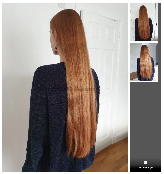 "These 17 inches of strawberry blonde hair are ""open to offers"". (Source: HairSellon)"
