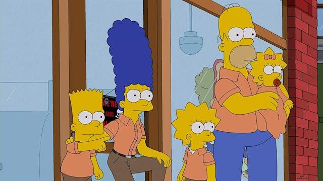 Bart, Marge, Lisa, Homer and Maggie.