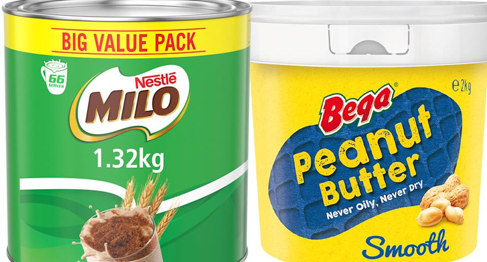 Milo in a 1.32kg tub and Bega Peanut Butter in a 2kg tub.