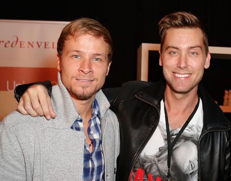Brian Littrell and Lance Bass at Nokia Theatre L.A. Live on November 17, 2012 in Los Angeles, California.
