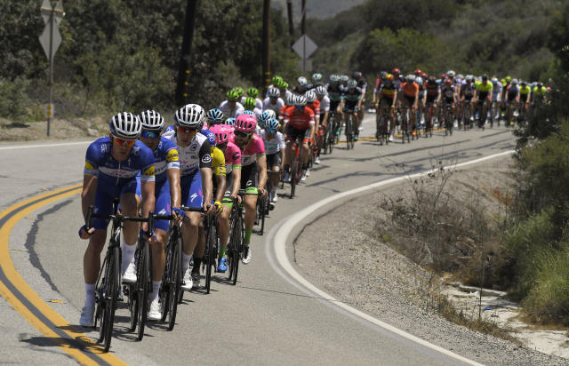 The peloton rides during Stage 2 of the AMGEN cycling Tour of California Monday, May 14, 2018, in Ojai, Calif. (AP Photo/Mark J. Terrill)