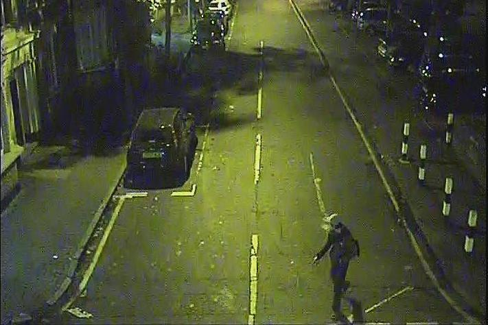 Sex attack: Footage shows the third suspect walking along Corfield Street in east London (Metropolitan Police)
